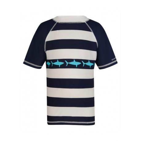 T-shirt de bain Enfant Anti Uv- Navy/White Stripe Shark