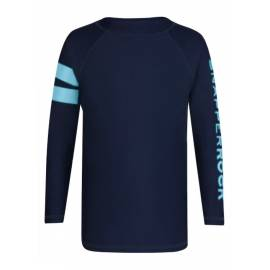 T-shirt Manches Longues Crop Top Femme anti Uv - Navy Sleeve w/light blue Band