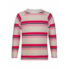 T-shirt Manches Longues Crop Top Femme anti Uv - Pink/ Navy Cabana Stripe