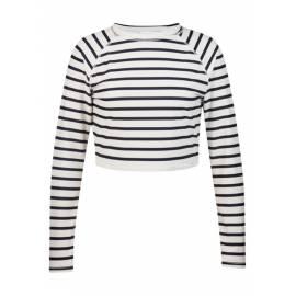 T-shirt Manches Longues Crop Top Femme anti Uv - Navy/White Stripe