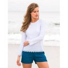 T-Shirt Manches Longues Femmes Anti Uv Rashguard - Blanc
