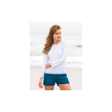 T-Shirt Manches Longues Femmes Anti Uv Rashguard - Blanc - SODIFFUSION f97c6ce2d740