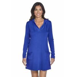Coolibar - Robe de Plage Anti UV à Capuche pour Femmes - Bleu Cobalt