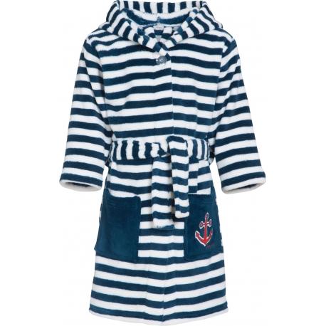 Playshoes - Robe de Bain Polaire pour Enfants - Bleu Marine / Blanc