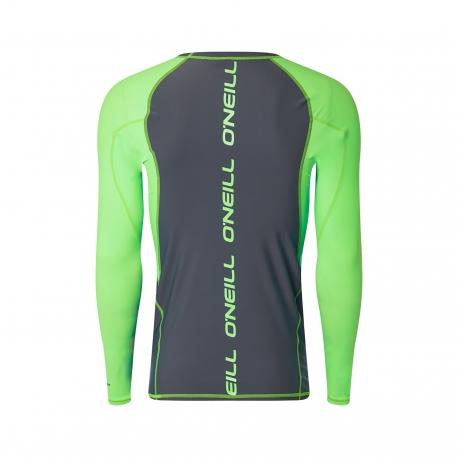 O'Neill - T shirt Homme Anti uv Manches Longues - Gris/Vert clair