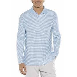 Polo anti-UV à manches longues pour hommes - Sport Rayure Bleu Vintage/Blanc, Coolibar