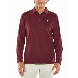Polo Sport anti UV pour homme - Manches longues - Erodym Golf - Maroon