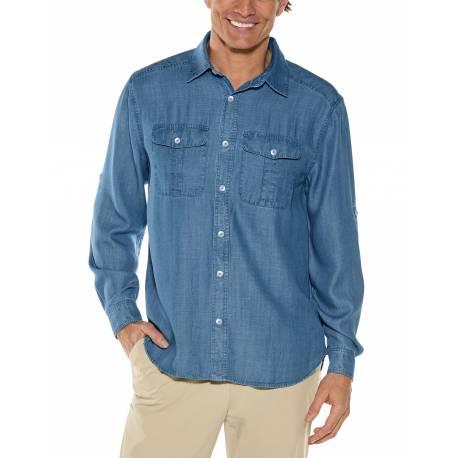 Chemise anti UV pour homme - Carson Chambray - Bleu clair