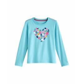 T Shirt anti UV pour Enfant - Coco - Manches longues Plum graphique - Ice Blue