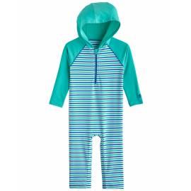 Combinaison de bain anti UV à capuche pour les bébé - Finn - Sea Mint / Blue Marlin