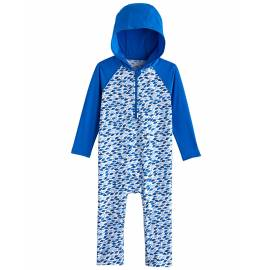 Combinaison de bain anti UV à capuche pour les bébé- Finn - Blue Marlin Mosaic