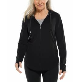 Sweat à capuche à fermeture éclair anti UV pour femme - LumaLeo Zip-Up - Noir