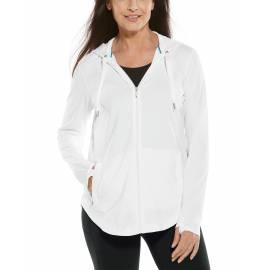Sweat à capuche à fermeture éclair anti UV pour femme - LumaLeo Zip-Up - Blanc