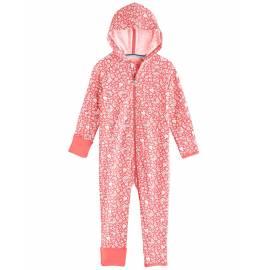 Grenouillère anti UV avec capuche pour bébé - LumaLeo Bodysuit - Peach Floral