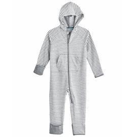 Grenouillère anti UV avec capuche pour bébé - LumaLeo Bodysuit - Gris / Blanc
