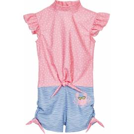 Combinaison de bain anti-UV pour fille - Crabe - rose / bleu clair