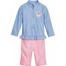 Combinaison de bain anti-UV pour fille - Manches longues - Crabe - Bleu clair / rose