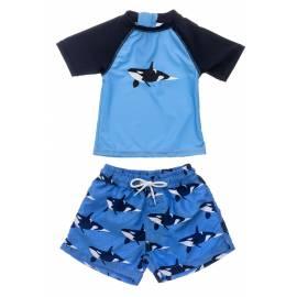 Ensemble de bain anti-UV pour bébés Garçon - Manches courtess - Orque Océan - Bleu