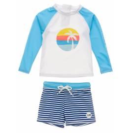 Ensemble de bain anti-UV pour bébés Garçon - Manches longues - Sunset Stripe - Blanc/Bleu clair