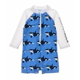 Combinaison de bain anti-UV pour bébés Garçon - Manches longues - Orque Océan - Bleu