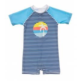 Combinaison de bain anti-UV pour bébés Garçon - Manches courtes - Bleu/Blanc