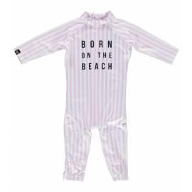 Combinaison de bain anti-UV pour bébé - Beach Girl - Rose / Blanc