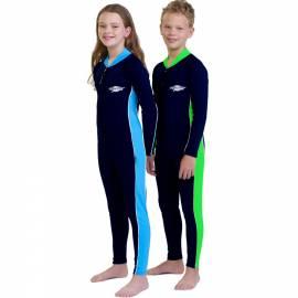 Maillot de bain une pièce manches longues anti uv junior mixte - Bleu marine/Vert