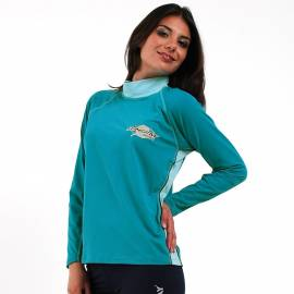 T-Shirt manches longues anti uv femme - Azure/Bleu marine